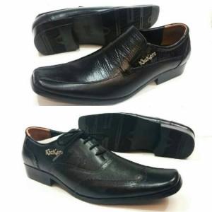 Sepatu Pantofel Formal Kerja Pria Hitam Full Black Kickers