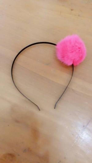 headband furr fur furry ball bola bulu cute HOT PINK