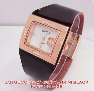 GCL02 B Jam Tangan Wanita Gucci Leather Syahrini Black Kulit GCL02B