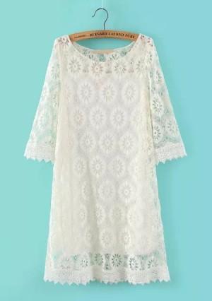 Dress - White Sunflower Lace - WD 17594