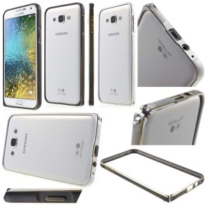 Samsung Galaxy E7 - Gold Lining Metal Bumper Case