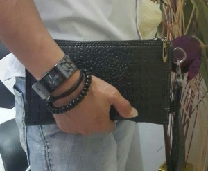 Mini Clutch Bag Croco Warna hitam Handbag Pria dan Wanita