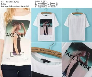 BJ-8543 TAKE RISK LETTERS TEE
