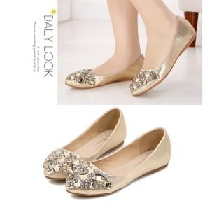Sepatu Wanita Color Gold Korea Impor SH910