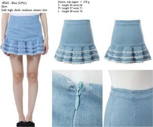 Rok Mini Import, Blue, Denim, Lookbook Style Murah