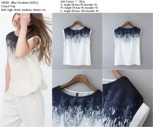 Atasan Import, Blue White, Soft Cotton, Lookbook, Murah