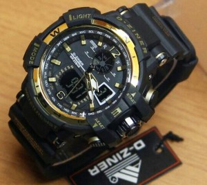 Jam tangan Dziner 6068 original black gold