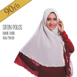 Jilbab Bolak Balik Pricilla Sifon Polos Abu Merah