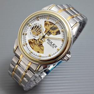 jam tangan Rolex Skeleton Geneve Rantai Combi White