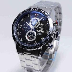 jam tangan Tagheuer Cal 16 Silver Black Dial