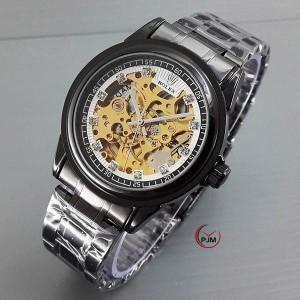 Rolex Skeleton Rantai hitam List Diamond