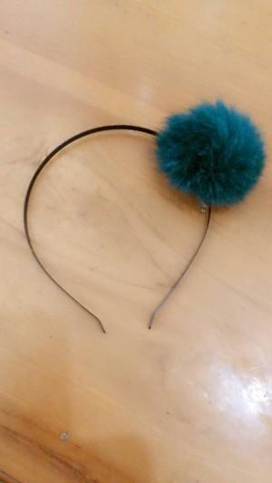 headband furr fur furry ball bola bulu cute HIJAU TUA