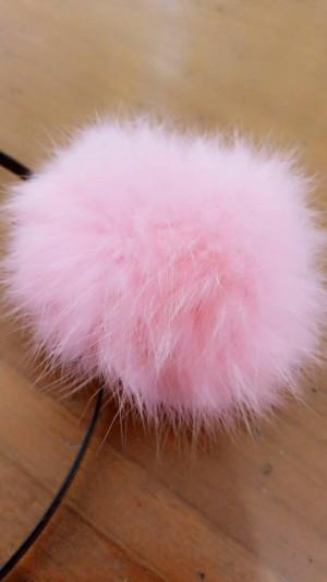 headband furr fur furry ball bola bulu cute BABY PINK
