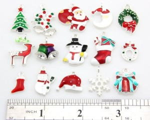 Xmas Christmas Mix Silver Plated Enamel Pendants Charms Findings
