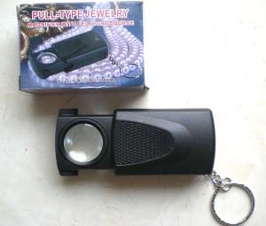 Kaca Pembesar Magnifier Zoom 45X dgn Lampu LED Terang yg bisa menyala otomatis utk Batu Permata Cincin Jewellery Loupe Mikroskop