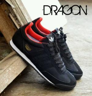 sepatu casual adidas dragon black/insole red murah