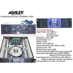 Ashley CA20 , professional power amplifier. ampli badak subwoofer