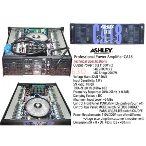 Ashley CA18 , professional power amplifier. ampli badak subwoofer