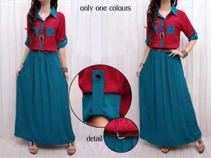 dress panjang/maxi dress/maxi two tone tosca red