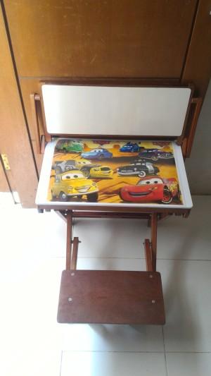 meja belajar lipat karakter terbuat dr kayu berkualitas