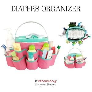 Diaper Organizer Magenta - Turquoise Green