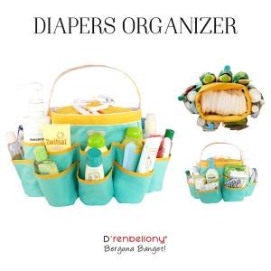 Diaper Organizer Turquoise Green - Zinnia Yellow