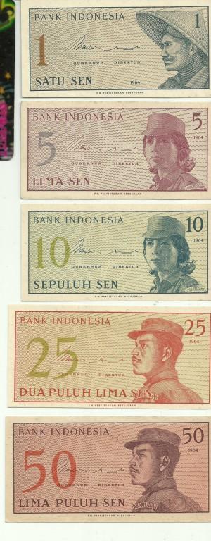 harga 1 SET UANG INDONESIA SERI SUKARELAWAN 1 - 50 SEN TAHUN 1964 (5 LEMBAR) Tokopedia.com