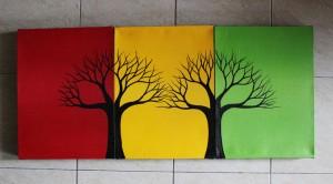 Lukisan Dekoratif Pohon - 3 Warna