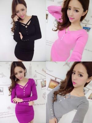 harga T7CSH Dress Seksi Lengan Panjang Dress Hitam Dress Pink Dress Ungu Abu Tokopedia.com