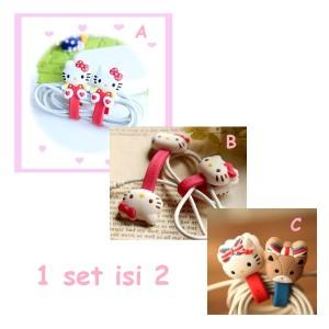 Cord Holder / Penjepit / Pengikat Kabel Hello Kitty isi 2
