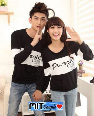 Kaos Couple Pusple Lengan Panjang / Baju Pasangan