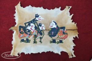 Lukisan Kaligrafi Wayang Punakawan Ukuran 60cm x 85cm Full Body Kulit