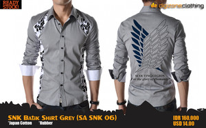 SNK Batik Shirt Grey (Kemeja Attack On Titan - SA SNK 06)