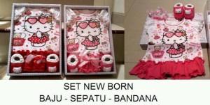 Kado Bayi Set New Born Baju Bandana Sepatu Hello Kitty Imut Banget