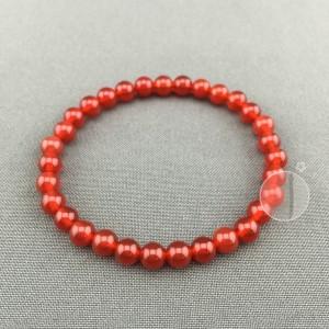 gelang batu asli alam natural red agate / akik darah 6mm