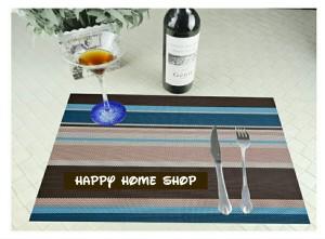Alas Makan/Alas Piring /Table Mat Cantik Anti Slip Biru (Stripe)