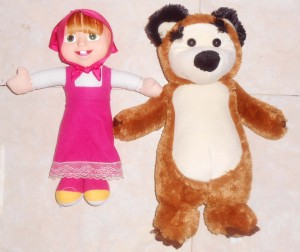 PAKET BONEKA COUPLE KARTUN Lucu MASHA THE BEAR 35 CM Unik