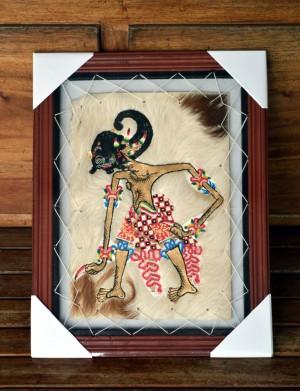Lukisan Wayang Werkudara / Bima Ukuran 35 x 45 cm2 Kulit Kambing ASLI