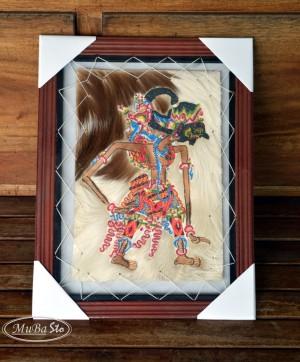 Lukisan Wayang Raden Gatotkaca Ukuran 35 x 45 cm2 Kulit Kambing ASLI