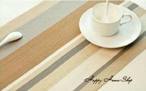 Alas Makan/Alas Piring /Table Mat Cantik Anti Slip Coffee (Stripe)