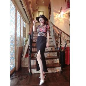 baju dress pesta korea set blouse floral etnik rok panjang import
