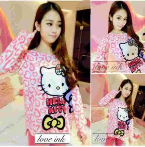 harga Baju Tidur Setelan Lengan Panjang - Piyama Sleepwear Lucu-Kitty Lova 2 Tokopedia.com