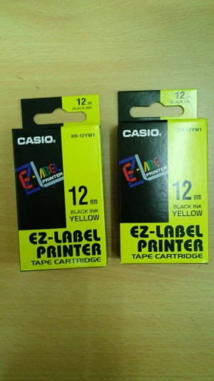 EZ-Label Printer Casio 12mm Black Ink Yellow XR-12YW1