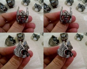 jual cincin hammer of thor red stone stainless steel