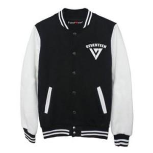 harga SEVENTEEN LOGO VARSITY baseball jacket jaket fleece hitam putih korea Tokopedia.com