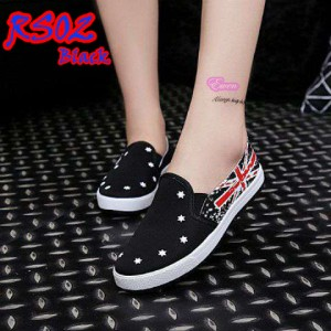 Flat Shoes Loafers England Flag 2cm (RS02 Hitam)
