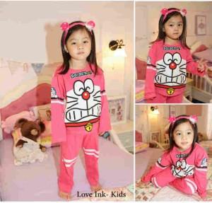 Setelan Anak Doraemon Pink Funny