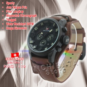 harga Jam SwissArmy Original PMG-119 Kulit Coklat  Stopwatch chronograph Tokopedia.com