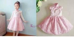 dress anak korea pink