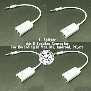 I Spitter - Kabel Jack Male 2 Female Pemisah Mic Headset Mac Ipad HP